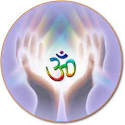 OM symbol between hands
