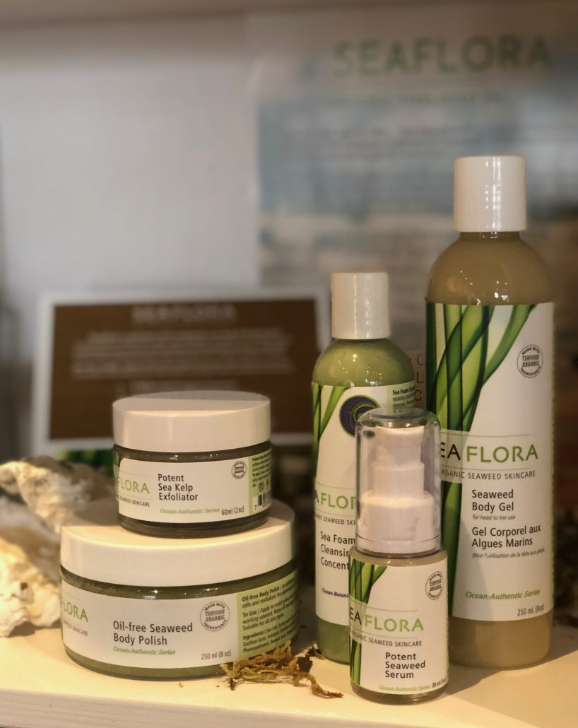 Seaflora Skincare products sold at Akasha's Den in Oakville.