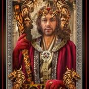Devin Kreuger, (Tarot Card Reader at Akasha's Den in Oakville), as the King of Wands Tarot card by artist Ciro Marchetti